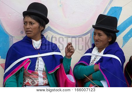 September 6 2016 Silvia Colombia: Guambiano indigenous women in traditional clothing on market day