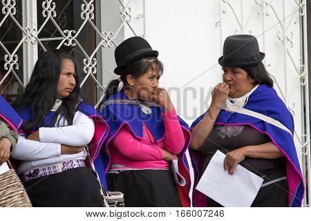 September 6 2016 Silvia Colombia: indigenous Guambiano women in traditional wear standing in the center of the village on market day