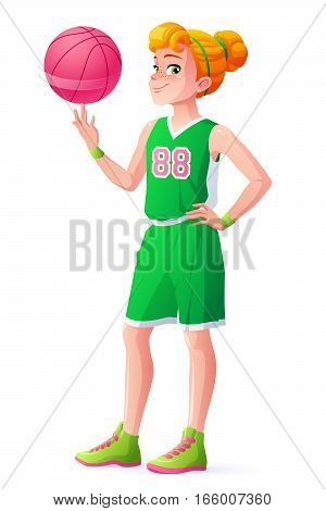 Cute redhead young basketball player girl in green uniform spinning the ball on her finger. Cartoon vector illustration isolated on white background.