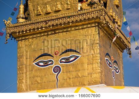 Eyes of Buddha. Wisdom eyes of Buddha in Swayambhunath Stupa after the earthquake ,Kathmandu, Nepal. poster