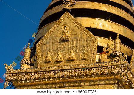 Detail on the top of Swayambhunath Stupa after the earthquake, Kathmandu, Nepal.