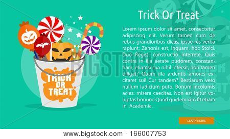 Trick or Treat Conceptual Banner Great flat design illustration concepts for halloween, holiday, horror, night and much more.