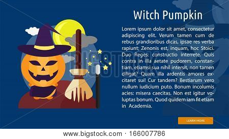 Witch Pumpkin Conceptual Banner Great flat design illustration concepts for halloween, holiday, horror, night and much more.