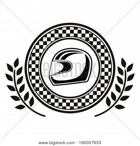 monochrome dish award with chekered border with racing helmet and olive branch vector illustration