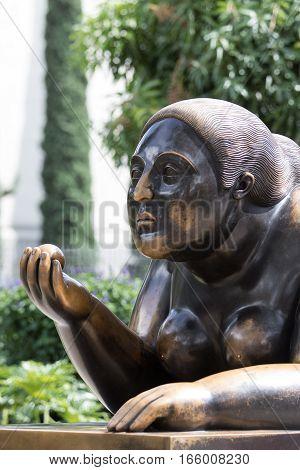 October 16, 2016 Medellin, Colombia: closeup details of a woman one of Botero's surrealist statues publicly displayed in the city center