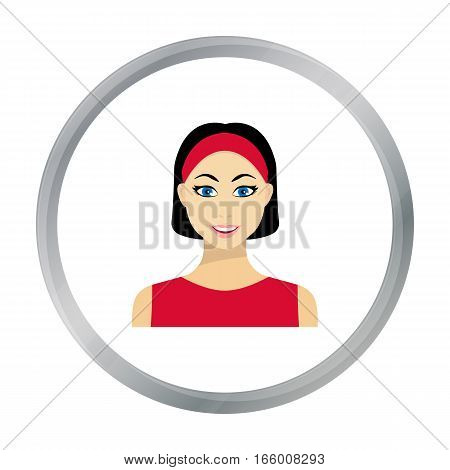 Black hair woman icon in flat style isolated on white background. Woman symbol vector illustration