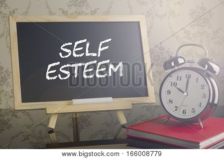 Self Esteem On Blackboard With Flare And Clock.