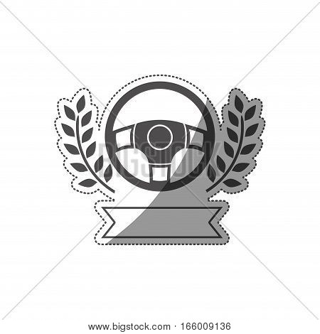 sticker prize of rudder in monochrome with olive branch and ribbon vector illustration