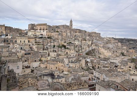 Aerial view of the ancient town of Matera (Sassi di Matera), European Capital of Culture 2019, Basilicata, Southern Italy