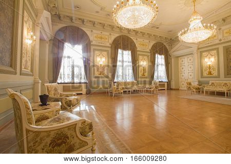 KAZAN, RUSSIA - 16 JANUARY 2017, City Hall - luxury and beautiful touristic place - antique furniture in the interior, wide angle