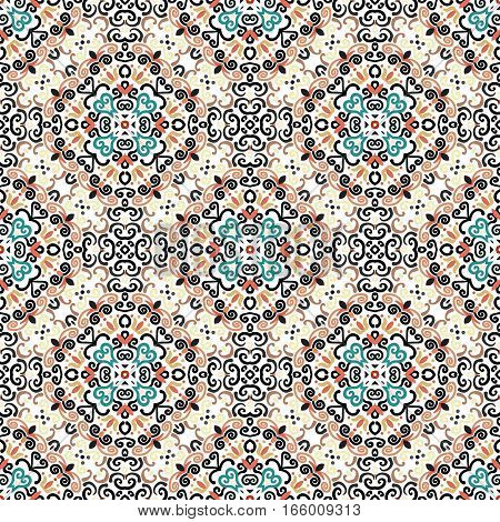Brown blue background. Stylized flower seamless pattern. Colorful weave floral ornament vector. Intricate luxury decoration. Flourish furniture fabric print, wallpaper. Interior design element.