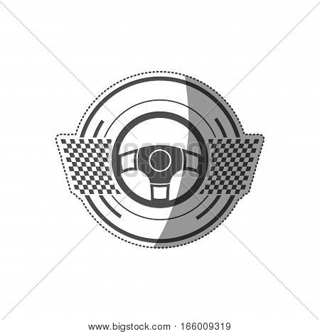 sticker rudder prize in monochrome with checkered flags vector illustration