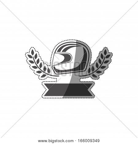 sticker monochrome award with racing helmet and olive branch and ribbon vector illustration