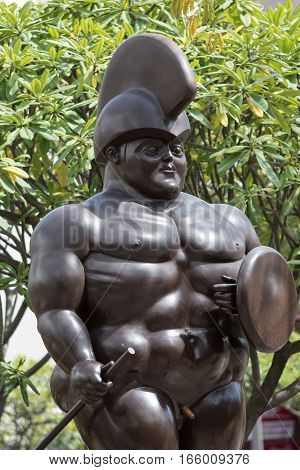 October 16 2016 Medellin Colombia: closeup details of one of Botero's surrealist statues publicly displayed in the city center