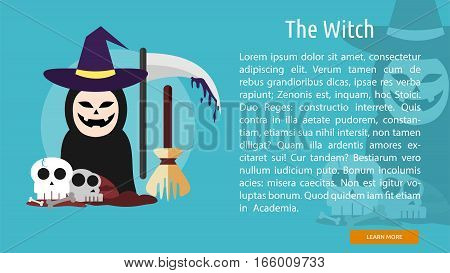The Witch Conceptual Banner Great flat design illustration concepts for halloween, holiday, horror, night and much more.