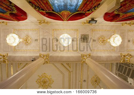KAZAN, RUSSIA - 16 JANUARY 2017, City Hall - luxury and beautiful touristic place - ceiling in golden ballroom, wide angle