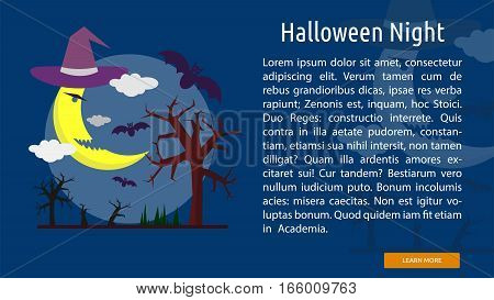 Halloween Night Conceptual Banner Great flat design illustration concepts for halloween, holiday, horror, night and much more.