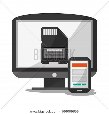 smartphone device and monitor computer with sd card icon on screen over white background. colorful design. vector illustration