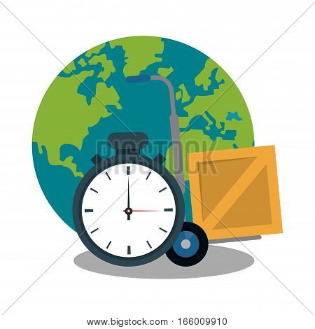 chronometer, carton box and earth planet icon over white background. fast delivery concept. colorful design. vector illustration