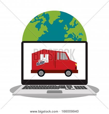 earth planet and laptop computer with van vehicle icon on screen over white background. fast delivery concept. colorful design. vector illustration