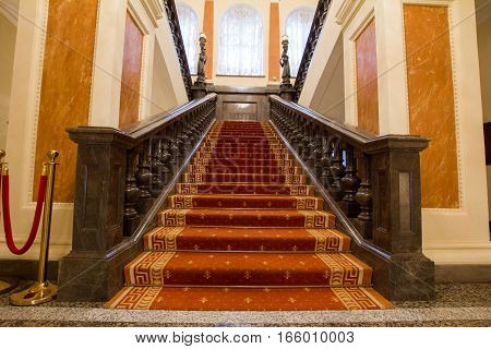 KAZAN, RUSSIA - 16 JANUARY 2017, City Hall - luxury and beautiful touristic place - stairwell at the entrance, wide angle