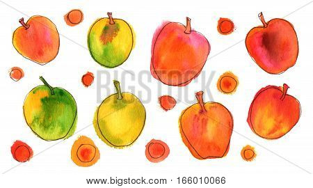 A collection of vibrant quirky freehand abstract watercolor and ink apples on white background