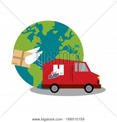 earth planet and red van icon over white background. fast delivery concept. colorful design. vector illustration