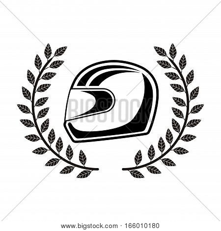 monochrome racing helmet with olive crown vector illustration