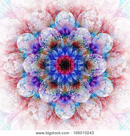 Fantasy Flower. Abstract Fractal Mandala On White Background. Digital Artwork In Red, Purple And Blu