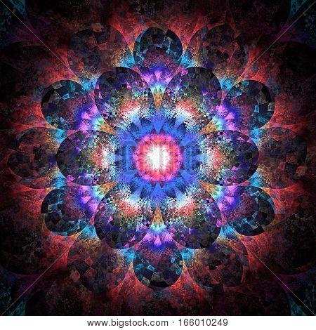 Fantasy Flower. Abstract Fractal Mandala On Black Background. Digital Artwork In Crimson, Purple And