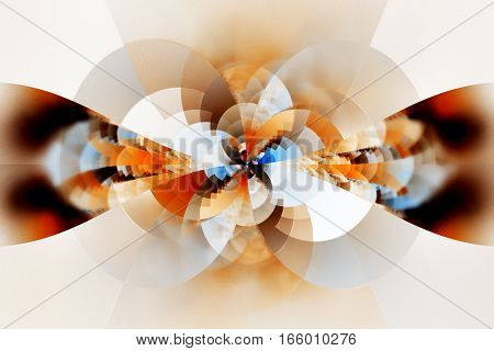 Abstract Floral Ornament. Fantastic Fractal Design In Blue, Brown, White And Orange Colors. Digital