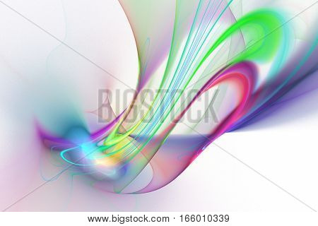 Abstract Pink, Purple, Green And Blue Smoky Shapes On White Background. Fantasy Fractal Texture. 3D