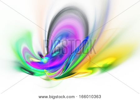 Abstract Yellow, Purple, Green And Blue Smoky Shapes On White Background. Fantasy Fractal Texture. 3