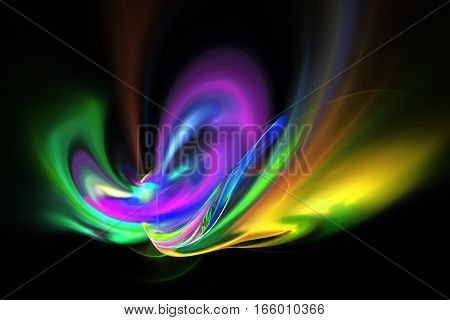 Abstract Yellow, Purple, Green And Blue Smoky Shapes On Black Background. Fantasy Fractal Texture. 3