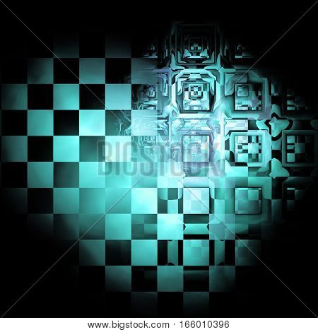 Abstract Turquoise Checkered Background. Fractal Texture. Digital Artwork. 3D Rendering.