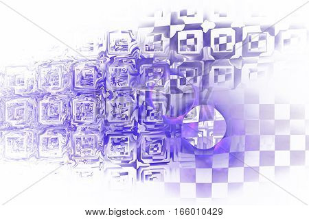 Abstract Purple Industrial Background. Fractal Texture. 3D Render.