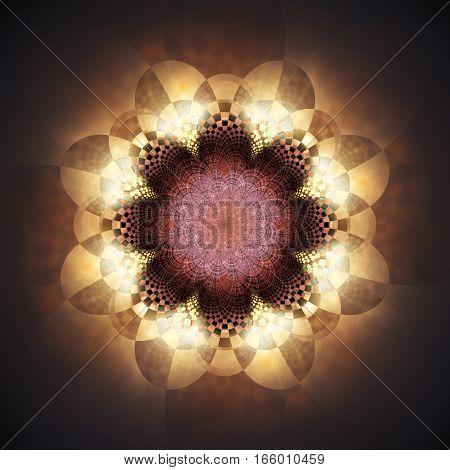 Abstract Glowing Mandala On Black Background. Fantasy Fractal Art. 3D Rendering.