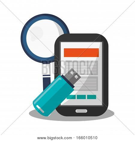 magnifying glass, smartphone device and usb icon over white background. colorful design. vector illustration
