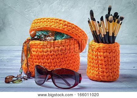 Orange Knitted Baskets With Brushes For Make-up And Feminine Trifles
