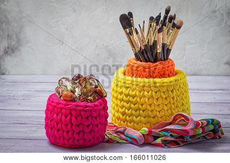 Colorful Knitted Baskets With Brushes For Make-up And Feminine Trifles