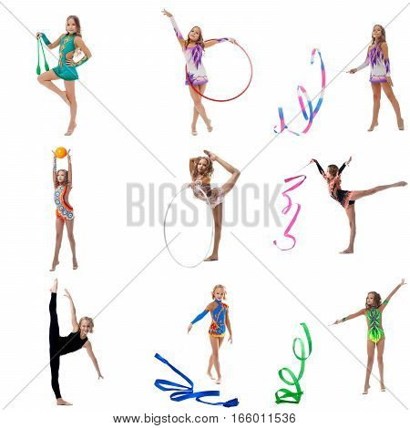 Set collection of junior flexible gymnast girl performing with equipment on white isolated background at studio