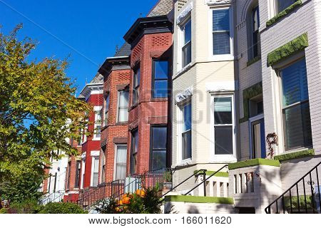 Historic row houses in Washington DC neighborhood around Halloween time. Urban residential architecture of US capital in fall.