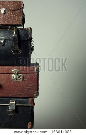 Background Stack Of Old Suitcases Form A Tower