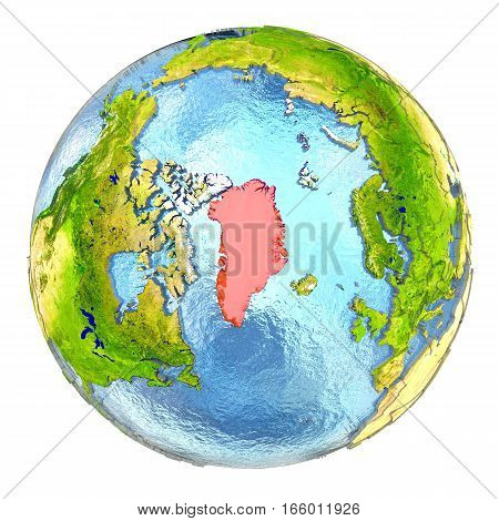 Greenland In Red On Full Earth