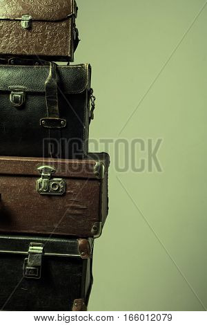 Background Stack Of Old Shabby Suitcases Form A Tower