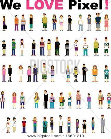 cute pixel people