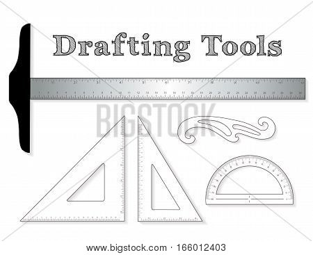 Drafting tools for architecture and engineering: aluminum T-square with inch and centimeter measure, 45 degree triangle, 60 degree triangle, ruler, French Curve and protractor isolated on white background.