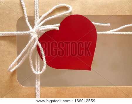 Valentine's day concept with gift box and red heart