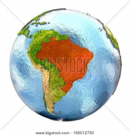 Brazil In Red On Full Earth