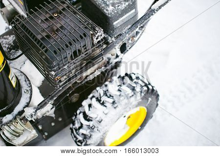 Close Up On Snow Blower For Snow Removal In Winter